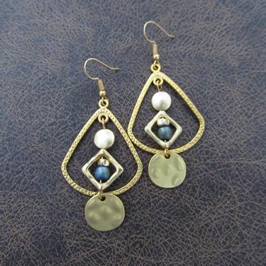 Matte gold hoop earrings, mid century modern earrings, Brutalist bold statement earrings, artisan boho earrings, bohemian gypsy, green by Afrocasian