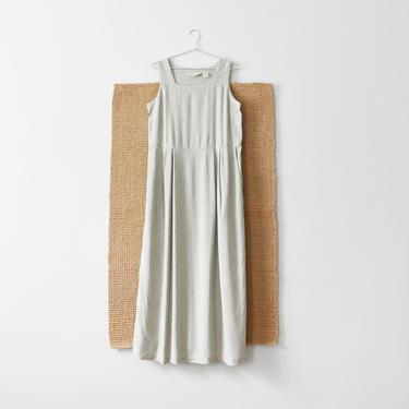 vintage gingham linen dress, 90s check print maxi dress, size S / M by ImprovGoods