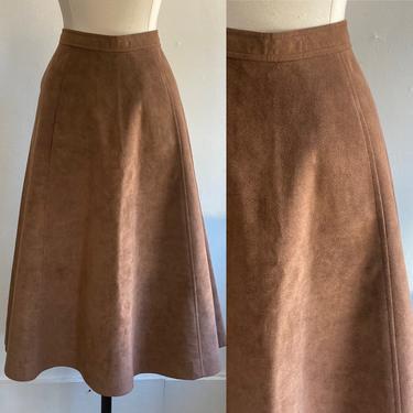 Vintage 1970's Boho CHOCOLATE ULTRASUEDE Midi Skirt / Hidden Pockets by CharmVintageBoutique