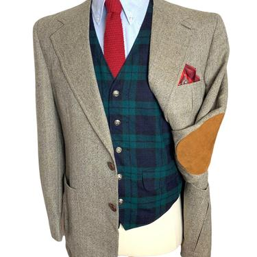 Vintage Wool HERRINGBONE TWEED Blazer 40 R ~ jacket / sport coat ~ Chinstrap / Belted Back / Elbow Patches ~ Hunting / Hacking ~ 1930s style by SparrowsAndWolves