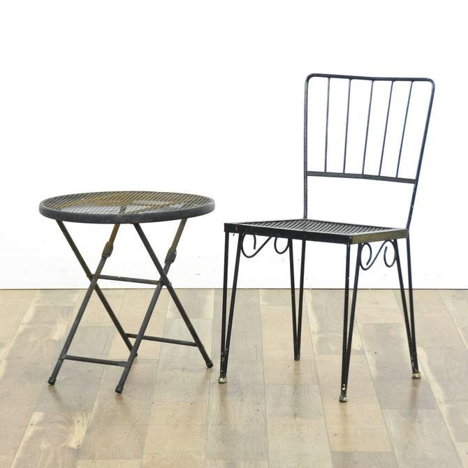Pair Black Metal Patio Chair & End Table