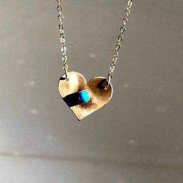 Gold Heart Pendant with Turquoise in 14k Gold-fill by Rachel Pfeffer by RachelPfefferDesigns