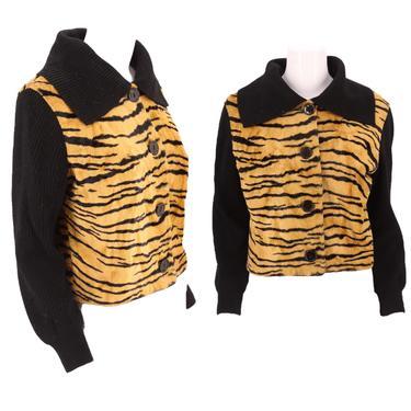 50s faux tiger fur knit jacket M / vintage 1950s fake fur print cardigan sweater bad girl VLV by ritualvintage