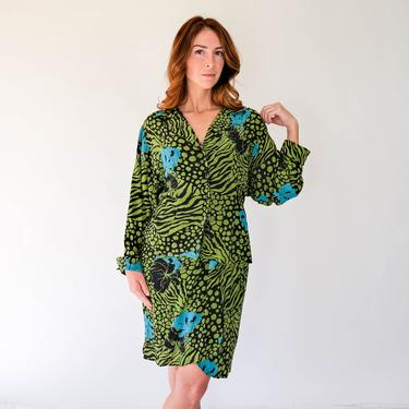 Vintage 80s Carole Little for St. Tropez Animal Floral Print Silk Jacket & High Waisted Wrap Skirt Set | 100% Silk | 1980s Designer Silk Set by TheVault1969