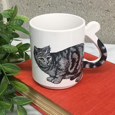 Vintage Cat Mug Retro 1980s Made in Japan + Black and Gray + Tabby + White Ceramic + Cat Lover + Coffee or Tea + Kitchen Decor and Drinking by RetrospectVintage215