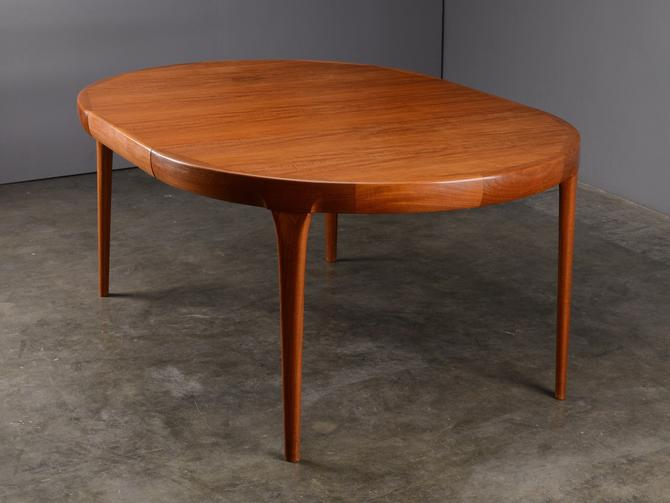 Mid Century Round to Oval Dining Table Faarup Danish Modern Teak by MadsenModern