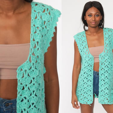 Crochet Vest Turquoise Blue Knit Top 70s Hippie Boho Vest Open Weave Sheer 1970s Vintage Bohemian Sleeveless Sweater Large L by ShopExile