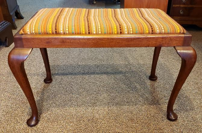 Item #S2034 Mahogany Stool w/ Upholstered Seat c.1920