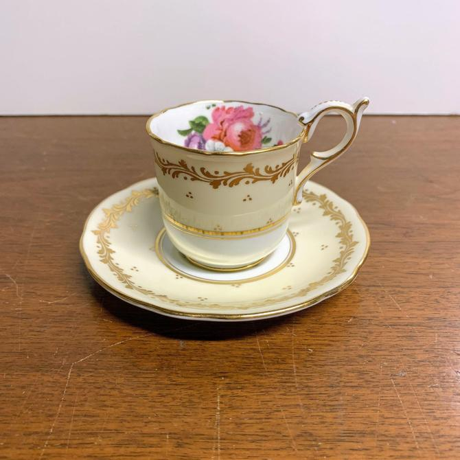 Antique Coalport China Gold and Cream Floral Demitasse Teacup and Saucer by OverTheYearsFinds