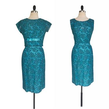 Vintage 60s green & blue floral lace sheath dress with blouson bolero top by Vintagiality