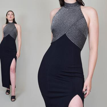 90's Tadashi Maxi Dress   Vintage Tadashi Dress   Metallic Tadashi Dress by WisdomVintage