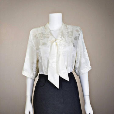 Vintage Ivory Scarf Collar Blouse, Small / Silky Jacquard Short Sleeve Blouse / Pleated Front Button Up Blouse / 1980s Pussybow Blouse by SoughtClothier
