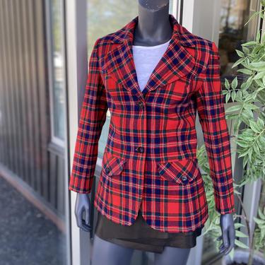 PENDLETON Vintage 1970s 100% Virgin Wool Women's 2-Button Tartan Plaid Blazer Jacket - Size 12 - Red, Navy Blue & Dark Green by AIDSActionCommittee