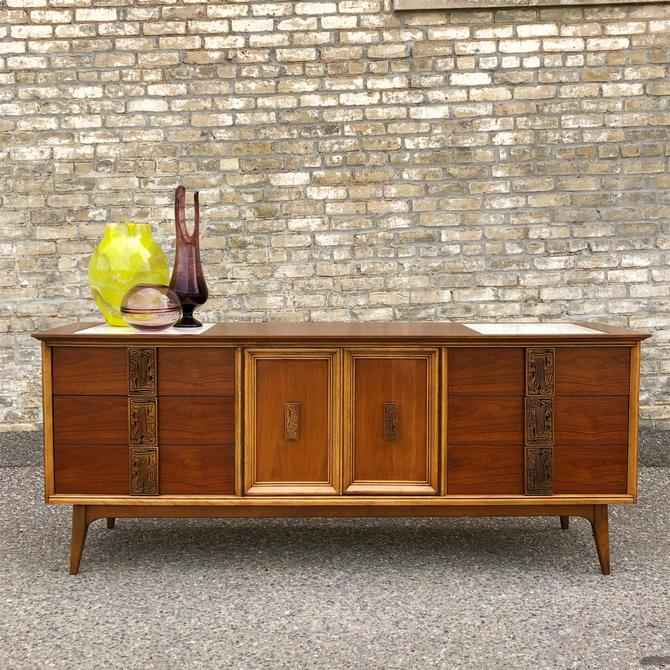 Bassett 'mayan' Triple Walnut Dresser