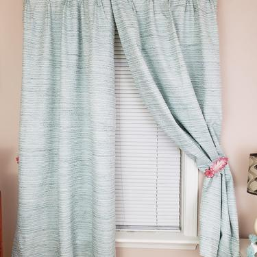 Vintage 1960's Pinch Pleat Curtains / 70s Blue Drapes / 3 Panels by SilhouettetsyVintage