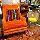 Fun Retro Orange Velvet Lounge Chair