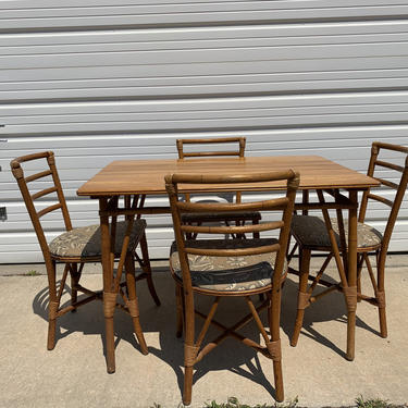5pc Dining Set Rattan Faux Bamboo Chairs Table Hollywood Regency Chinese Chippendale Coastal Bohemian Boho Chic Wood Vintage Kitchen Wicker by DejaVuDecors