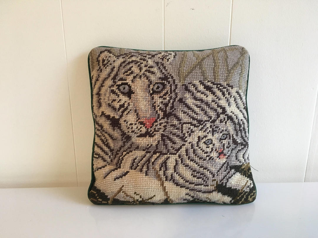 Vintage Needlepoint Tiger Pillow Green Square Accent