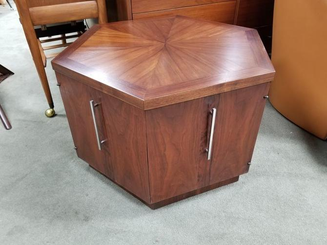 Mid-Century Modern octagonal side table with lower storage