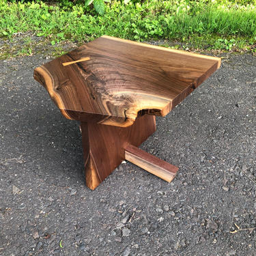Mid Century Modern Side Table / Accent Table / Live Edge / Natural Edge / Wood Stool / George Nakashima / Danish Modern by donyacovella