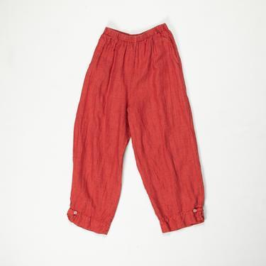 Fregata Pants — vintage linen pants / small 90s minimalist red windowpane plaid capris / medium elastic waist comfy cropped lounge pants by fieldery