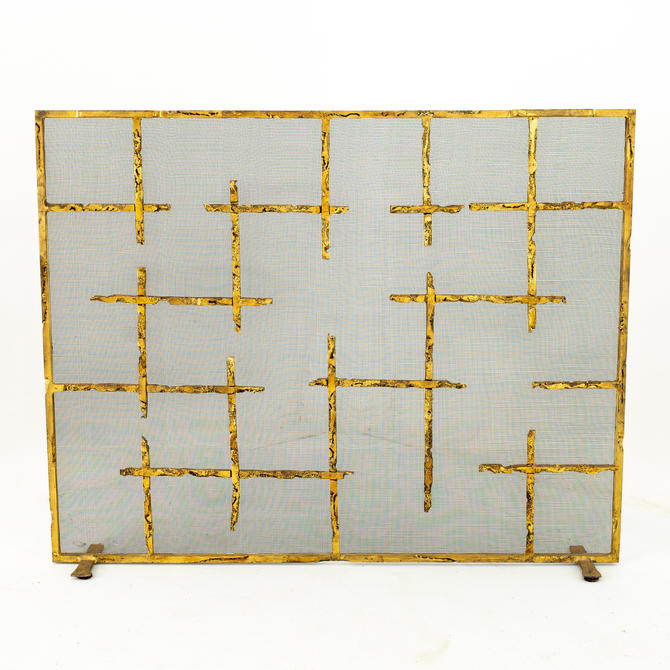 Brutalist Mid Century Wrought Iron and Brass Finish Fireplace Screen by ModernHill