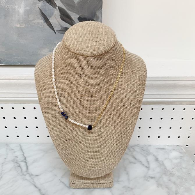 Pearl & Lapis Necklace