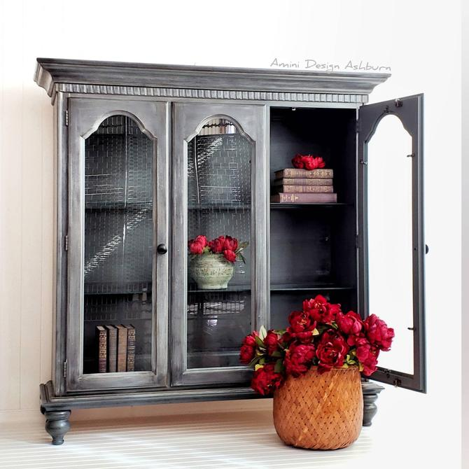 Painted Furniture Painted Hutch Bookcase Rustic Display Cabinet Hutch by AminiDesignAshburn