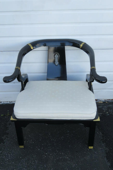 Hollywood Regency Mid Century Painted Black Side Chair by Century 1578