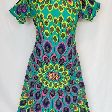 BELLA Ankara shift dress (Torquoise peacock) by GLAMMfashions