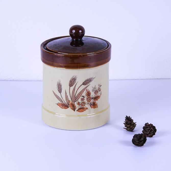 Vintage Sears Stoneware Wheat Pattern Cannister / Vintage Crock / Made in Japan by blackwellhabitat