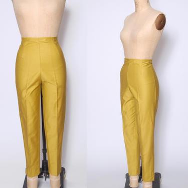 Vintage 60s raw silk pants / mustard silk trousers / crop length pants / high waist trouser / skinny straight tapered leg / cigarette pants by ProspectVintageGoods