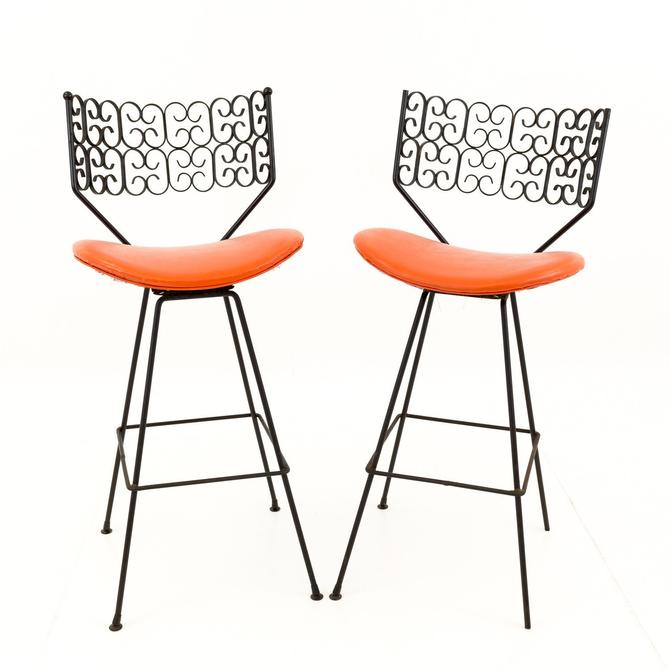 Pair of Arthur Umanoff for Shaver Howard Mid Century Iron Bar Stools - 3 color combinations by ModernHill