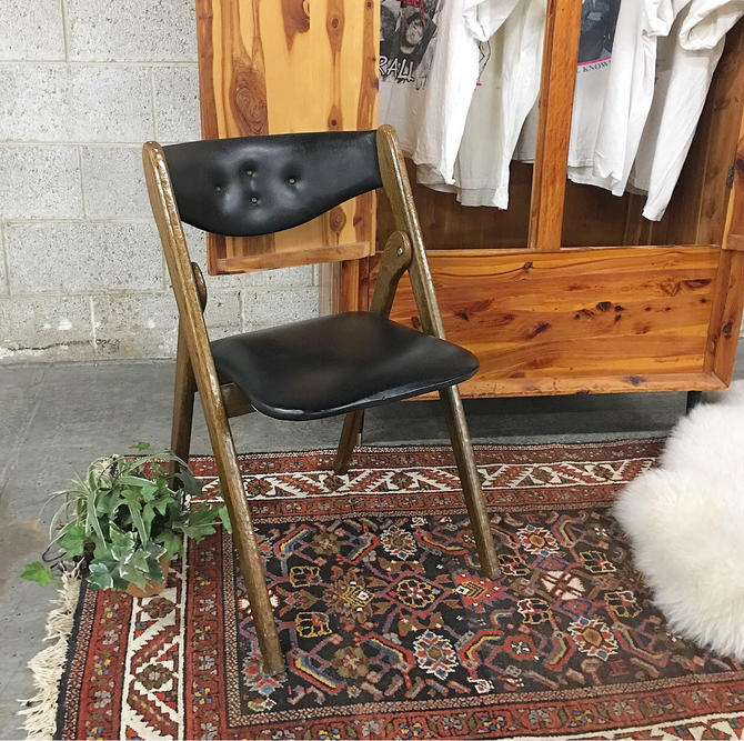 Vintage Folding Chair Retro 1960s Willkie Industries Brown Wood Frame + Black Vinyl + Cushioned Seat + Tufted Back Mid Century MCM Seating by RetrospectVintage215