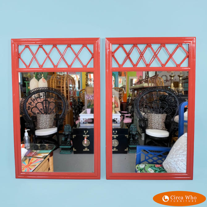 Pair of Ficks Reed Red Mirrors