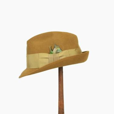 Vintage 60s Men's FEDORA / 1960s Angled Stingy Brim Olive Green Beaver Fur Felt HAT 7 1/4 by LuckyDryGoods