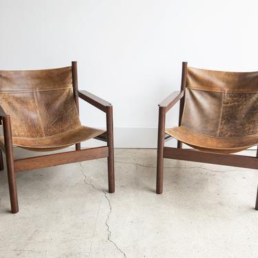 SOLD | Vintage 1960's Michel Arnoult Roxinho Leather Sling Lounge Chairs  Mobilia Contemporanea by GoodWilson