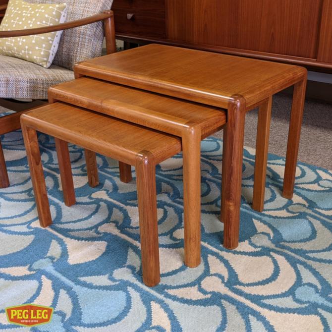 Set of three Danish Modern teak nesting tables
