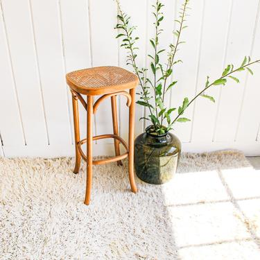 Unique Hand Caned Josef Hoffman/Thonet Style Bentwood and Cane Stool by PortlandRevibe