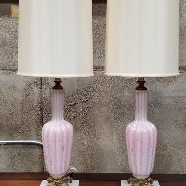 Murano Glass Pink Opales Table Lamps - a Pair by JanakosAndCompany
