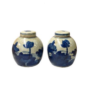Pair Blue White Mini Oriental Graphic Porcelain Ginger Jars ws949E by GoldenLotusAntiques