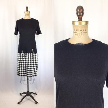 Vintage 60s dress | Vintage black wool houndstooth dress | 1960s drop waist shift dress by BeeandMason