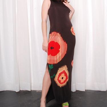 Vintage 1970s Abstract Flower Column Maxi Dress (Medium) by 40KorLess