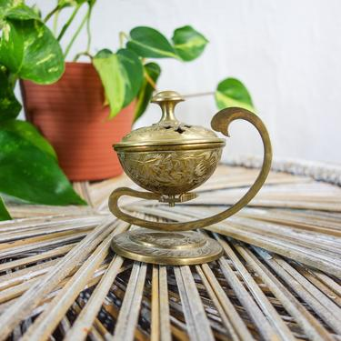 """Vintage etched brass incense holder 4"""" curved handle & lid for hippie boho home altar decor made in India, metal coal resin burner potpourri by forestfathers"""