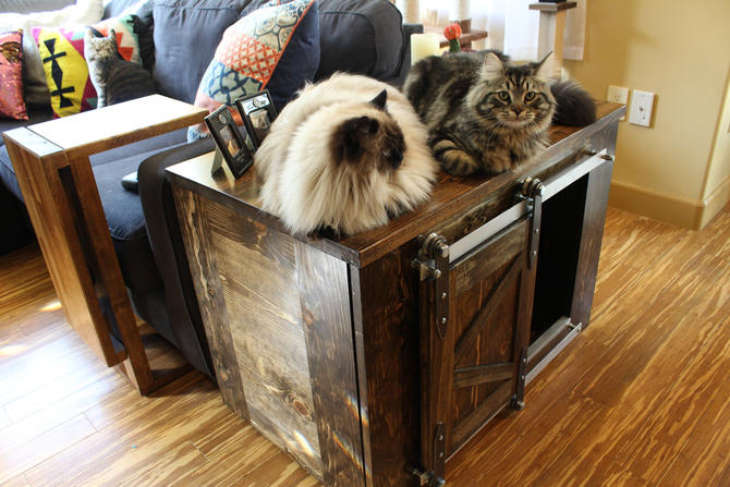 Rustic Cat Litter Box 2 Level with Steps - Sliding barn doors / Custom Cat / Kitty House / Litter Storage / Rustic Pet / Pet furniture by TheRusticForest