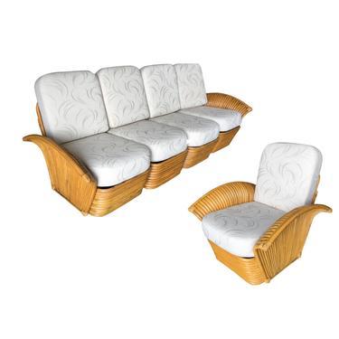 Restored Art Deco Rattan Fan Arm Three-Seat Sofa & Lounge Chair Livingroom Set by HarveysonBeverly