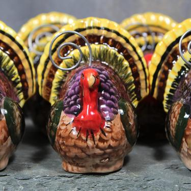 Set of 7 Ceramic Turkey Place Card Holders - Thanksgiving Turkey Decor - Name Card Holders Holiday Table | FREE SHIPPING by Bixley