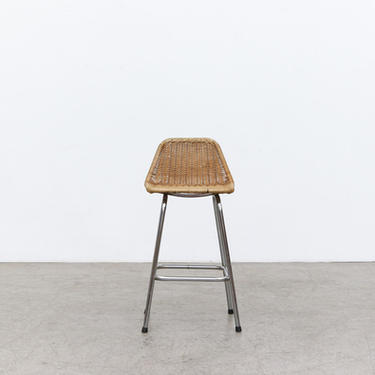 Charlotte Perriand Style Wicker Counter Stool with Chrome Legs