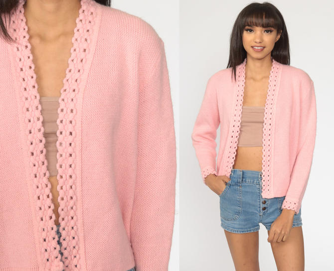 Pink Cardigan Sweater 70s Open Front Baby Pink Pastel Sweater Vintage Crochet Acrylic Knit 1970s Grandma Medium M by ShopExile