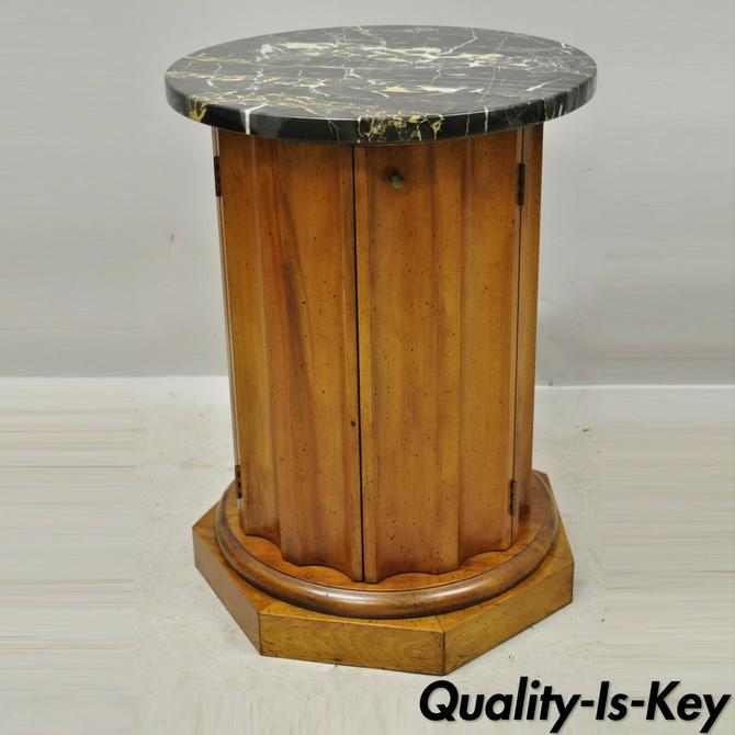 Vintage Italian Classical Round Marble Top Fluted Column Cabinet Pedestal Stand